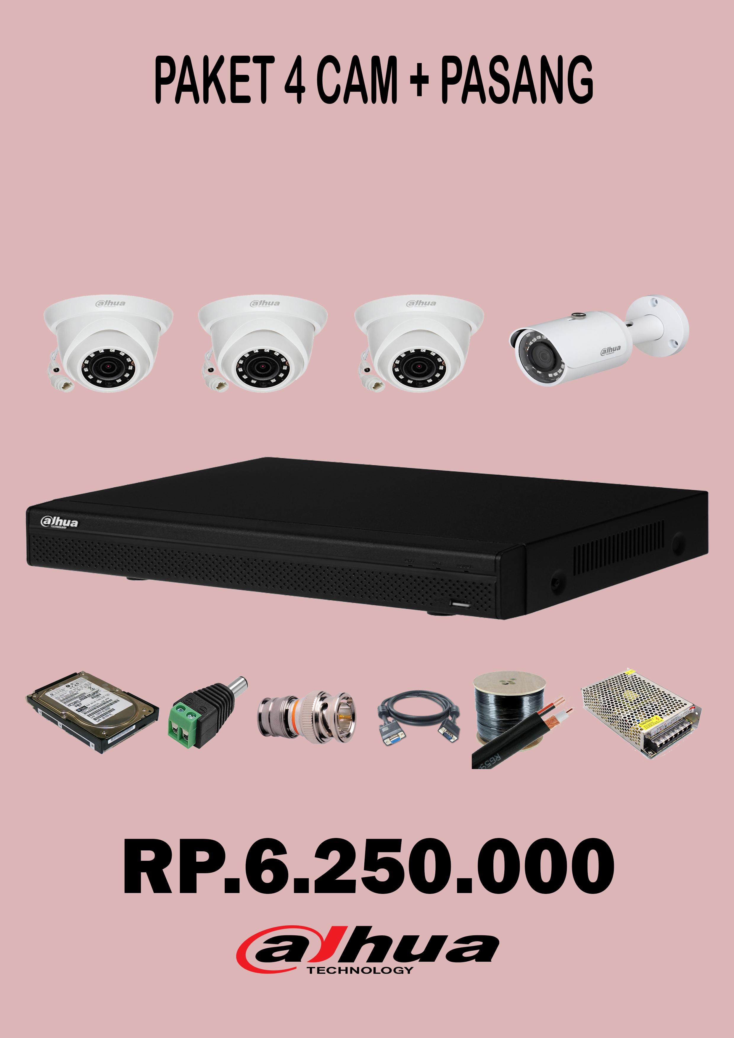 Paket 4 Camera CCTV 2 Mp + pasang