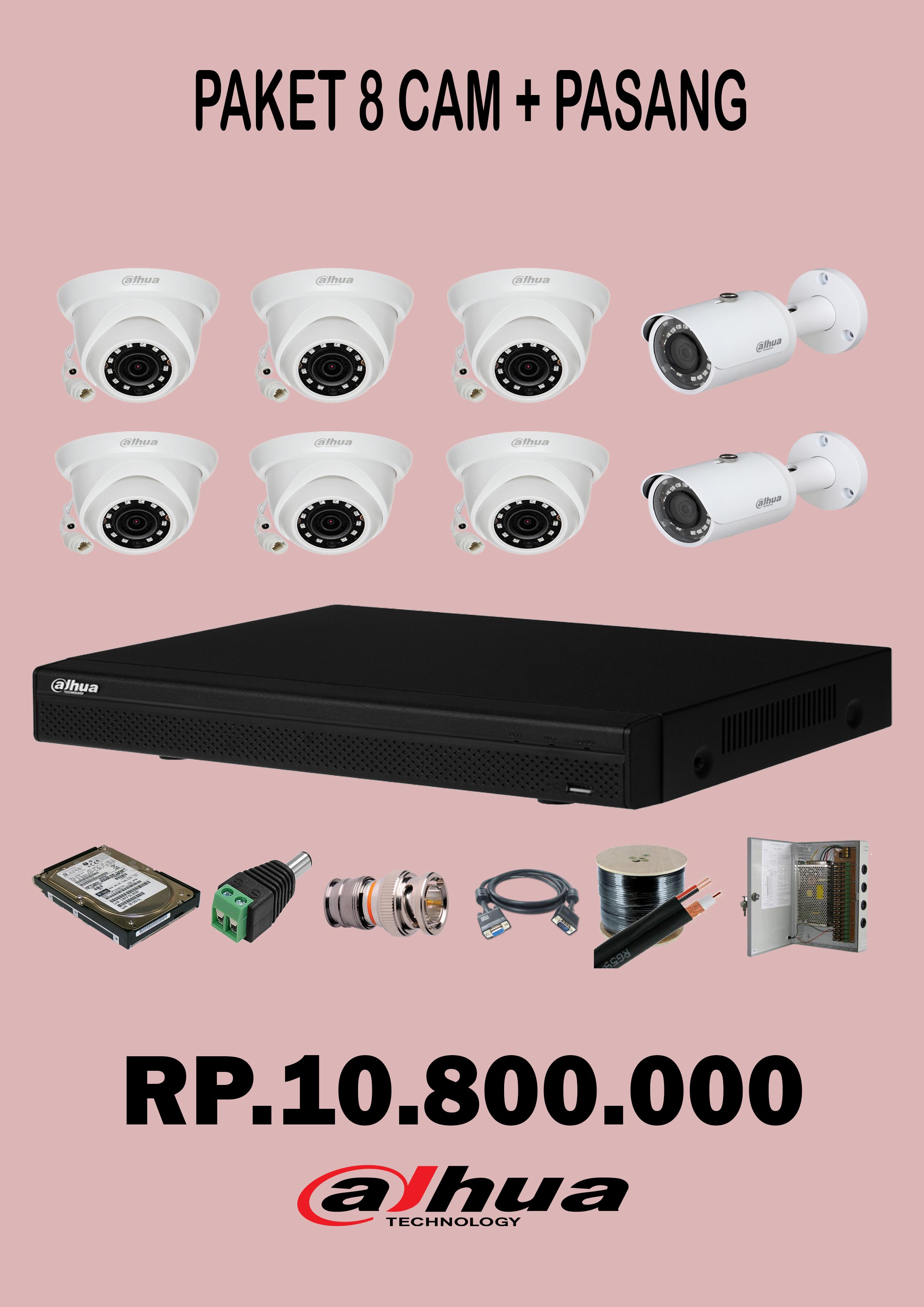 Paket 8 Camera CCTV 2Mp + pasang