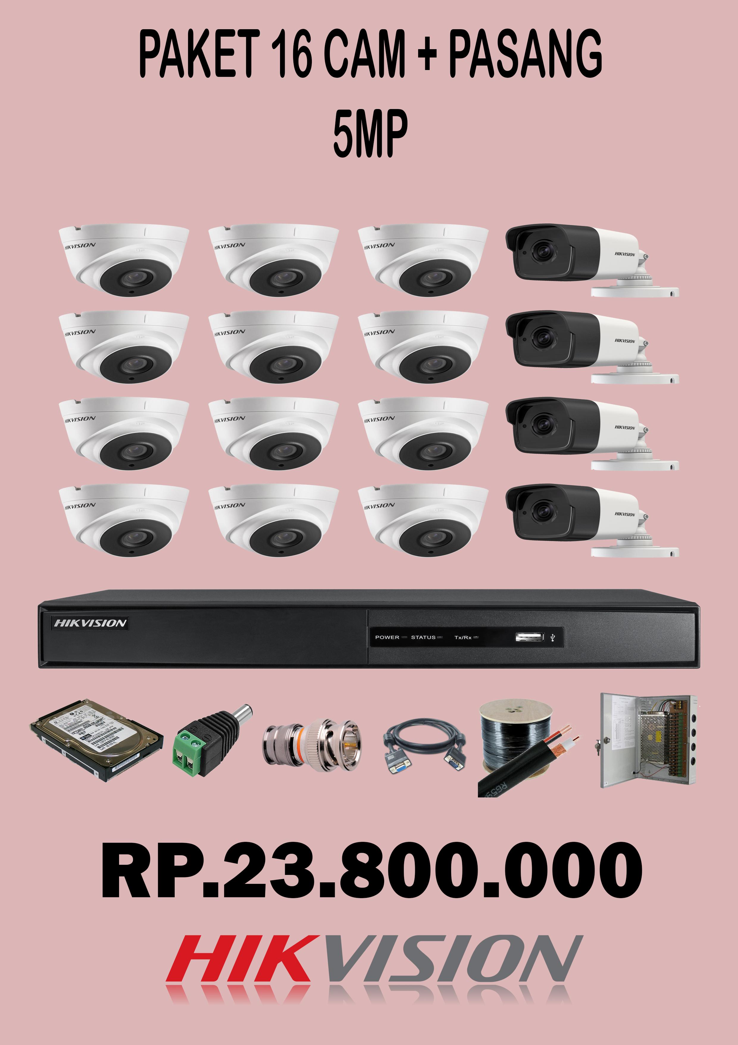 Paket 16 Camera CCTV 5Mp + pasang