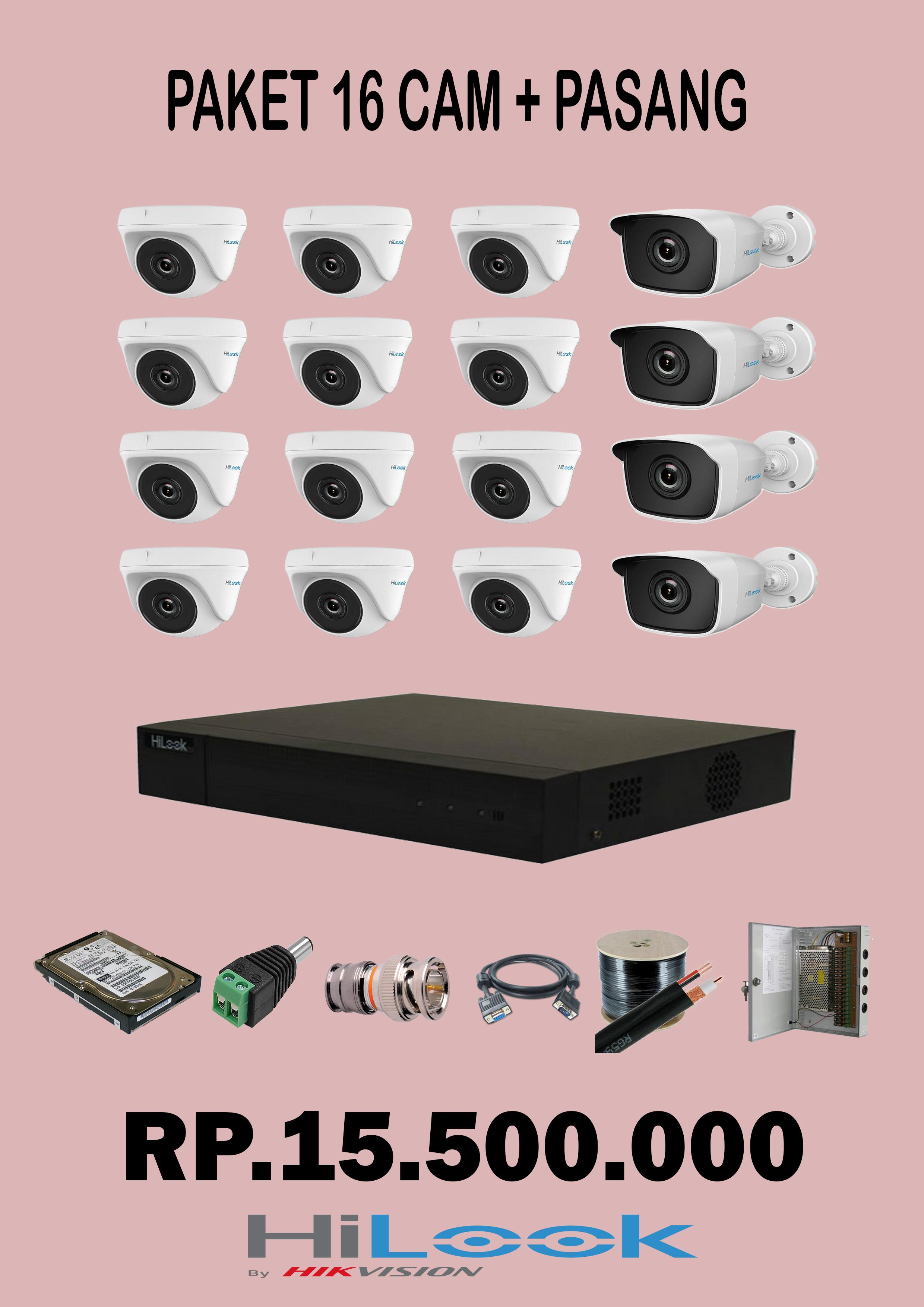 Paket 16 Camera CCTV 2Mp + pasang