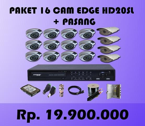 Paket CCTV 16 CH EDGE 2MP HD20SL + Pasang