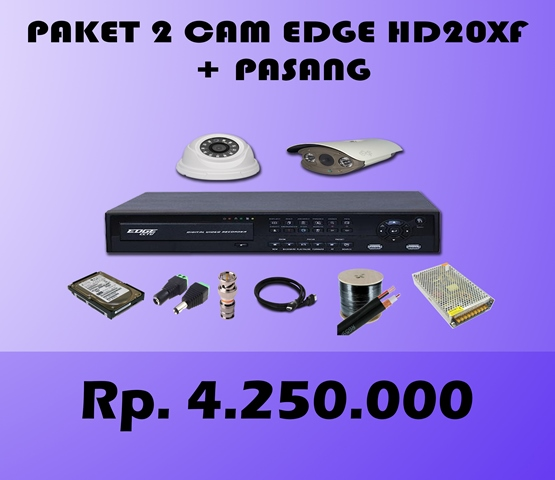 Paket CCTV 2 CH EDGE 2MP HD20XF + Pasang