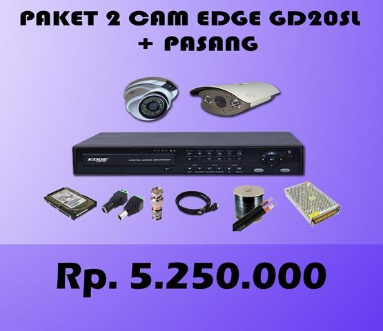 Paket CCTV 2 CH EDGE 2MP HD20SL + Pasang